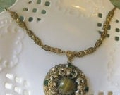 Vintage Art Glass Enameled Necklace Pearls & Ornate Chain