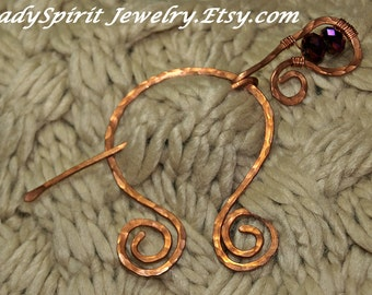 Copperwork Celtic Penannular Shawl or Tartan Pin with Iridescent Purple Crystal Accent