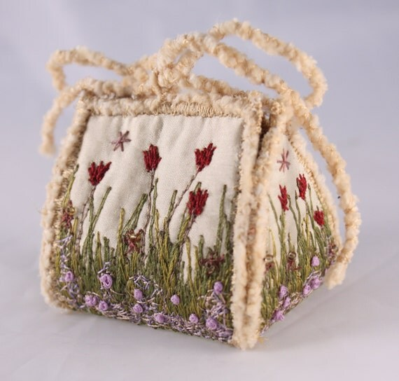 Gift box Spring garden garden lover wedding favor box tulip flowers floral silk embroidery