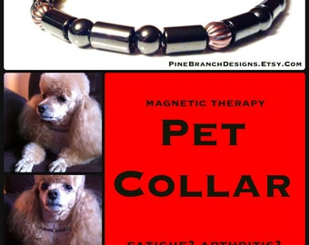 Medium PET Magnetic Collar therapy Hematite and Copper High Strength Magnetic Custom Sized pet jewelry Wellness Health