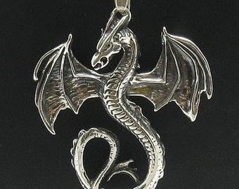 PE000132 Sterling silver pendant Dragon solid 925