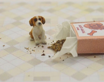 Miniature OOAK hand carved wood tiny Beagle puppy in a little puppy chow box dog breed pet  by IGMA Fellow Linda Master Miracle Chicken