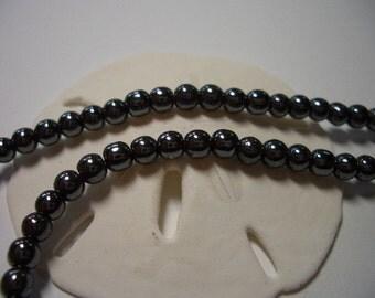 Sale, natural Hematite beads, 4mm round, dark grey beads, full strand, 4mm natural gemstone beads, 4mm hematite beads, grey, steel grey