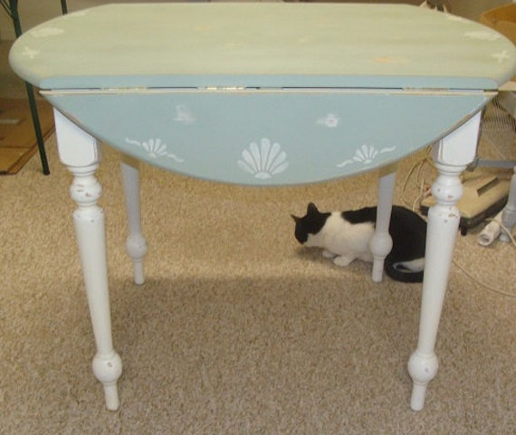 Round Drop Leaf Kitchen Dining Table Painted In Sage And White