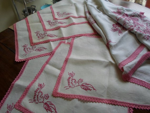 vintage linen tablecloth napkin set embroidery pink floral 8 pc