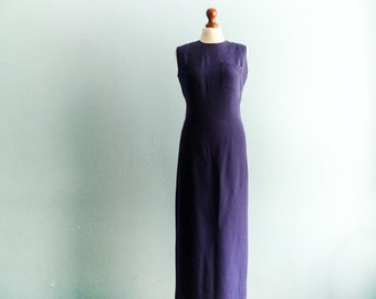 Vintage pencil dress / dark blue / midnight blue / evening formal special occasion dress / sleeveless / maxi long / medium small