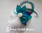 Bride's Wedding Peacock Fascinator, Teal Bridal Head Piece, Teal Blue Feather Hair Piece, Peacock Flapper Birdcage Veil, Fairy Wedding