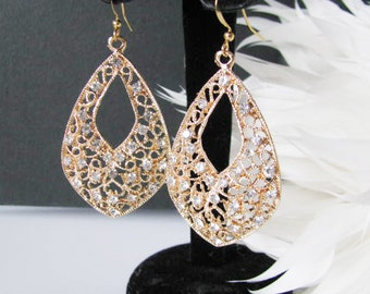Gold Plated Filigree Clear Rhinestone  Wedding Earring Drops Pageant Jewelry