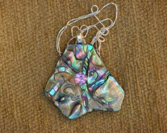 Wearable art- Zandrite and abalone necklace with sterling silver chain