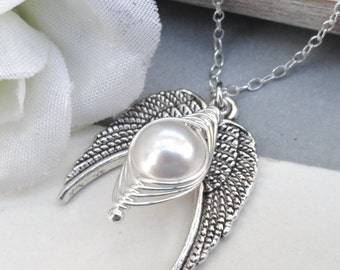 Remembrance Peapod Necklace Angel Wing Peapod Memorial Necklace  Sterling Silver
