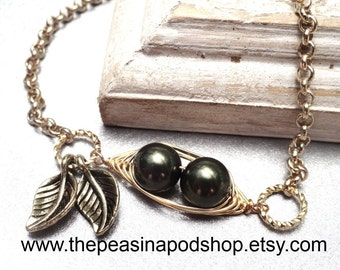 Sweet 2 Peas In A Pod Silver Bracelet 2,3 Or 4 Swarovski Pearls Choose Your Color Or Beads And Metal. Ideal Gift For Mom