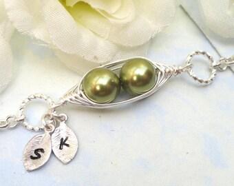 Pea pod bracelet, two peas in a pod, mothers bracelet, friendship bracelet, sisters bracelet, personalized bracelet, silver bracelet