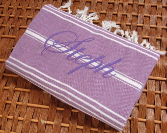 Classic COTTON PESHTEMAL Personalized Turkish Towel - Monogrammed Embroidered - Purple