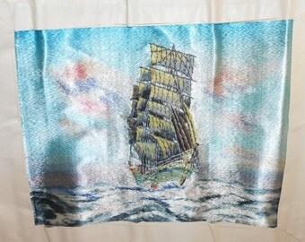 vintage Japanese embroidery tapestry needlework on silk Japanese silk embroidery WWII Japanese art fiber art Asian art man of war nautical