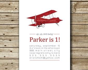 Vintage Airplane Invitation | Vintage Airplane Invite | Aviator Invitation | Aviator Invite | Vintage Airplane Birthday Party