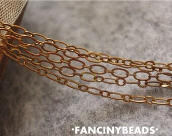 on Sale-16 feet fabulous oval loop chain-rustic copper chain-F842