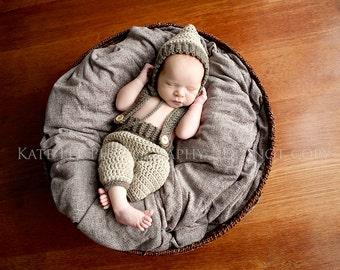 Crochet Pixie hat and Suspender Pant set