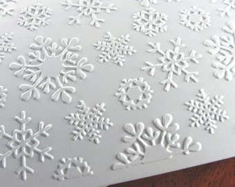 Christmas Snow Cards (Set of 8 Elegant Snowflake Holiday Cards for Winter, Wedding, or White Christmas)