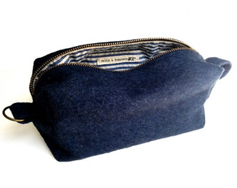 Toiletry Bag - Navy Blue Military Blanket