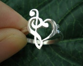 Music Note Love Heart Ring - Treble Clef Ring - Bass clef Ring - Music Gift - Bass Clef Jewelry - Treble Clef Jewelry - Musical Symbol Ring