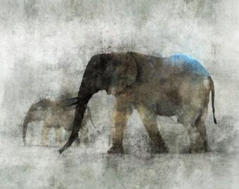 Elephant March 02: Giclee Fine Art Print 13X19