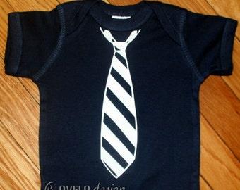 Little Man Tie Onesie Pictured in Navy with White Tie