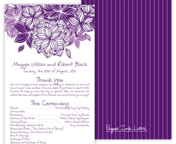 wedding flower programs