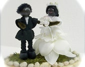 Wedding Cake Topper, African American Mr. & Mrs. Fairy Folk Couple, One Of A Kind Cake Topper