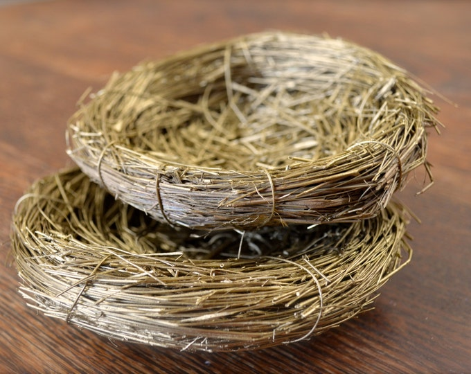 "Rustic Golden Birds Nests, Natural Decor, Small  5"", set of two"