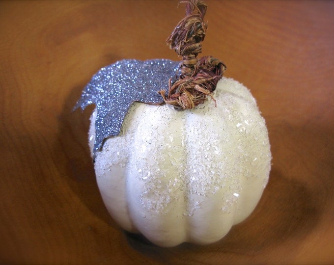 White Pumpkin Fall Rustic Decor Embellished with Silver Glitter Leaf, Frosted Accents, Table Scape Decor, 1 Pumpkin