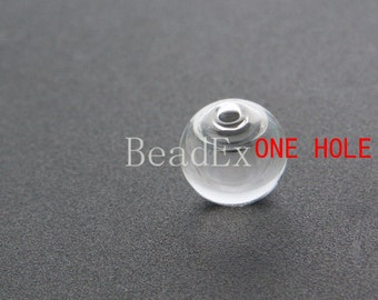10pcs / Hand Blown / Hollow Glass Beads / Near Round / One Hole 14mm (28H3/G134)