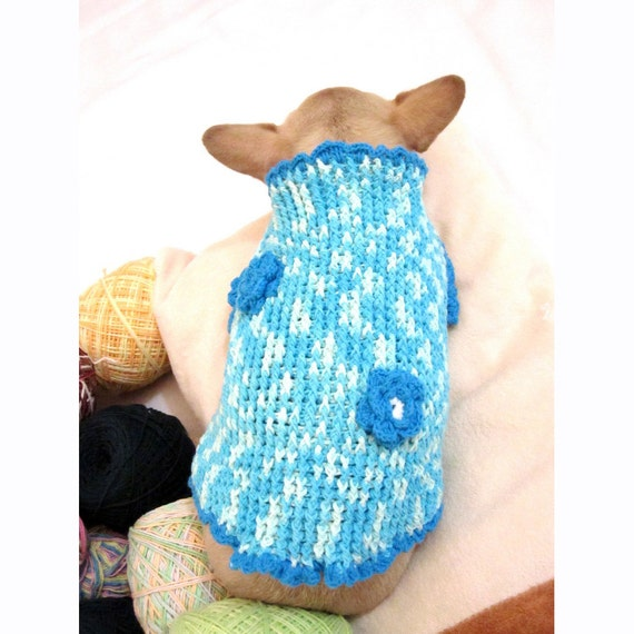 Turquoise Cute Easter Puppy Sweater Flower Hand Crocheted Cotton Designer Dog Clothes Pet Clothing Myknitt DK850 Free Shipping