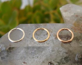 Nose Hoops - Helix - Tragus - Cartilage Earrings - Sterling Silver Yellow & Rose Gold Filled Set of 3 Hoops - 18 Gauge 7mm Inner Diameter