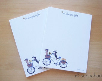 Personalized Notepads - Dachshunds On Bicycle (set of 2)