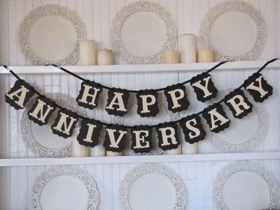 Happy Anniversary Banner Anniversary Sign Anniversary Party