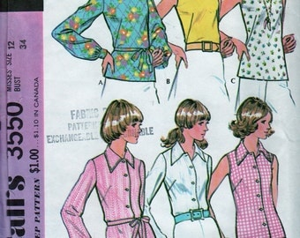 Vintage 60's -McCalls Pattern -Mod Darted Shell Top - Size 12