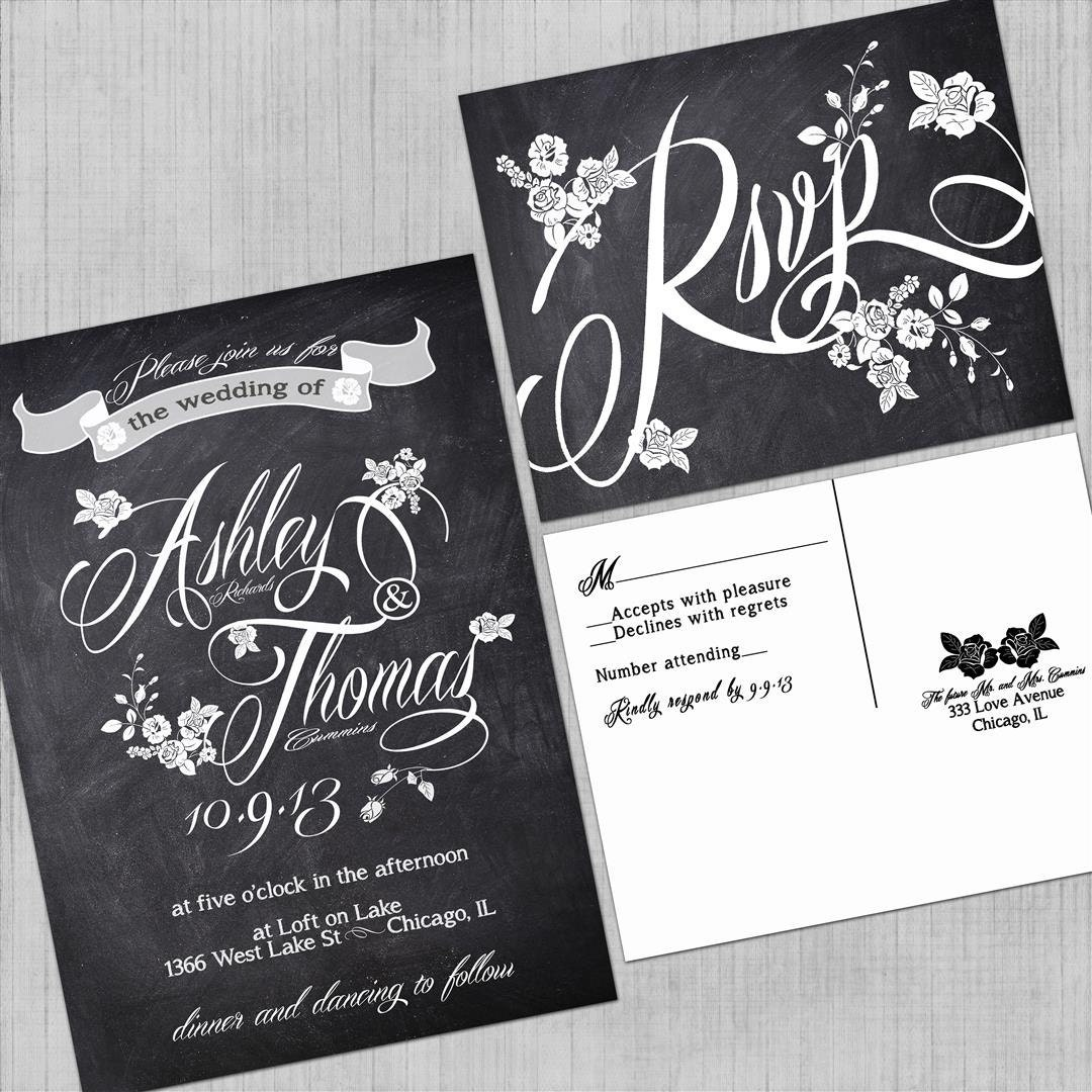 Printable Wedding Invitations With RSVP Cards Vintage