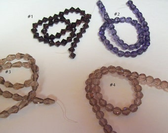 Shades of Purple  ... 1 Full Strand of Glass Beads ... Your Choice