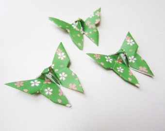 25 Cherry Blossom Green Origami Butterflies
