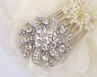Bejeweled Sunshine - Vintage Style Silver Rhinestone Hair Comb Brooch