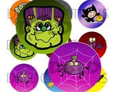 INSTANT DOWNLOAD - Halloween Monsters - 1 Inch Circle - 4 x 6 - Halloween Monsters, Witch, Ghost, Devil, Pendants, Earrings.