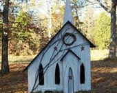 Primitive Lighted church Folk Art worn white w/ worn black accents ~  Comes w/ light and cord ~ Birdhouse ~ Very unique!