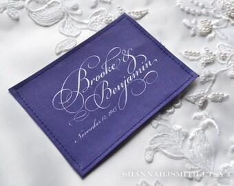 Personalized Wedding Something Blue Custom Dress Label Patch, Formal Script