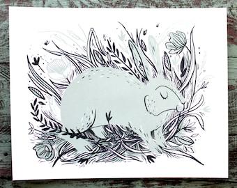 SALE! Blue Rabbit in Wildflowers in field Screen Print 11x14