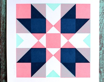 SALE Geometric Quilt Square Screen Print Pink and Blue