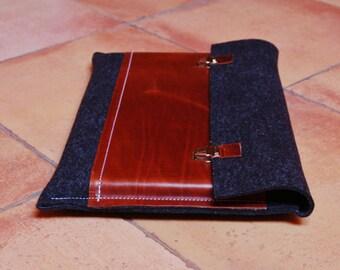 15 inch MacBook case, Macbook Pro 15 Case, 15 Macbook Bag, Macbook Pro Retina Case, MacBook case - Anthracite felt & dark brown leather