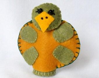 Felt Turtle Finger Puppet, Storytelling Prop,  Removable Shell