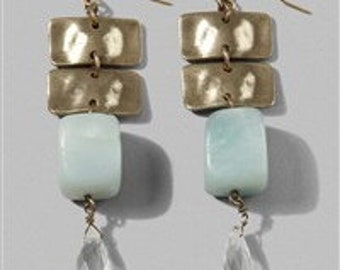 Brass Amazonite and Crystal Earrings