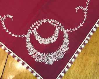 Beautiful Deep Burgundy Table Topper with White Hand Embroidery