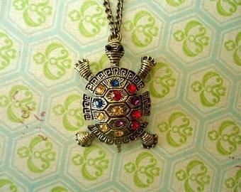 Antiqued Bronze Turtle  Necklace, Animal Antiqued Bronze Necklace, Turtle Necklace, Turtle Jewelry